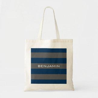Rayures de rugby de bleu marine et de gris avec le sac en toile budget