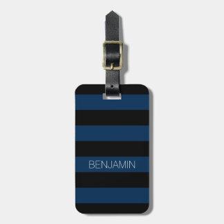 Rayures de rugby de bleu marine et de noir avec le étiquette pour bagages