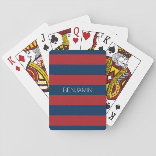 Rayures de rugby de bleu marine et de rouge avec l jeux de cartes
