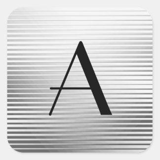 Rayures de satin d'argent d'art déco de monogramme sticker carré