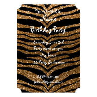 Rayures de tigre de scintillement d'or carton d'invitation  12,7 cm x 17,78 cm