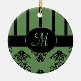 Rayures de vert olive et de noir, le baroque de ornement rond en céramique