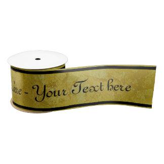 Rayures d'or - noir + votre texte ruban en satin