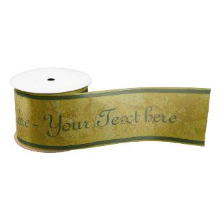Rayures d'or - vert-foncé + votre texte ruban en satin