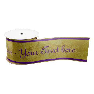 Rayures d'or - violette + votre texte ruban en satin