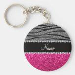 Rayures gris-clair de zèbre de scintillement rose  porte-clés