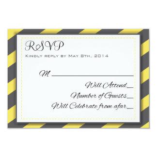 Rayures grises et jaunes RSVP élégant Carton D'invitation 8,89 Cm X 12,70 Cm