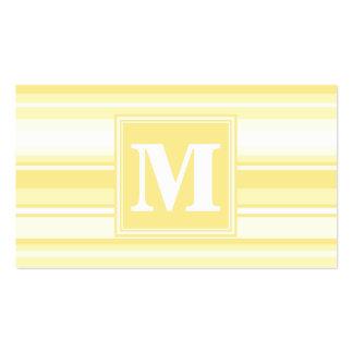 Rayures jaune citron de monogramme carte de visite standard