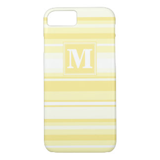 Rayures jaune citron de monogramme coque iPhone 7