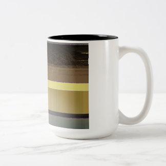 Rayures jaunes et brunes abstraites mugs