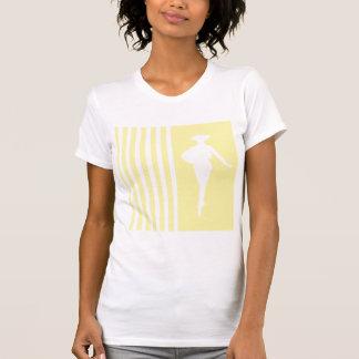 Rayures modernes crèmes avec la silhouette de mode t-shirts