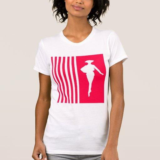 Rayures modernes de pavot avec la silhouette de mo t-shirts