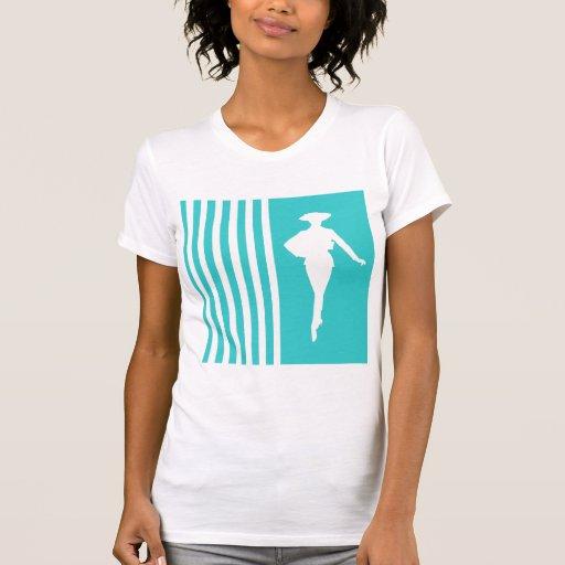Rayures modernes de turquoise avec la silhouette d t-shirts