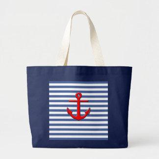 Rayures nautiques avec l'ancre rouge sac en toile jumbo