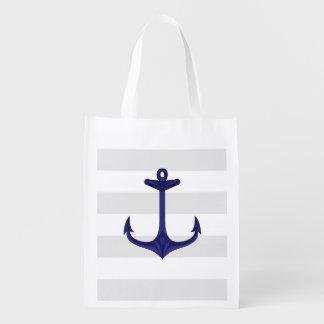 Rayures nautiques de blanc gris d'ancre de bleu sac d'épicerie
