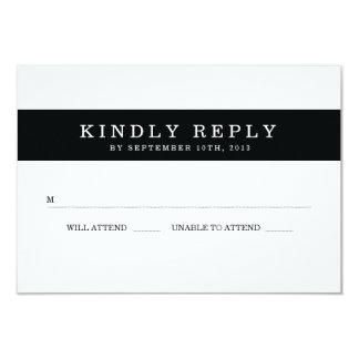 Rayures noires chics épousant RSVP Carton D'invitation 8,89 Cm X 12,70 Cm