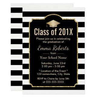 Rayures noires de fête de remise des diplômes et carton d'invitation  12,7 cm x 17,78 cm