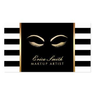 Rayures noires de maquilleur et blanches modernes carte de visite standard