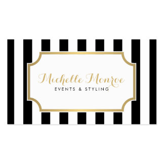 Rayures noires et blanches audacieuses Luxe Carte De Visite Standard