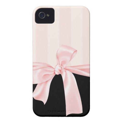 Rayures roses Girly parisiennes et arc rose-clair Coque iPhone 4