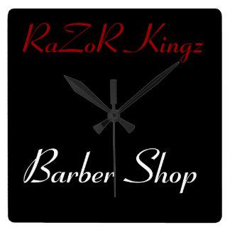 RaZoR Kingz Barber Shop Promotional Square Wall Clock