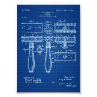 Razor Patent - Patent Print, Bathroom Decor, Poster