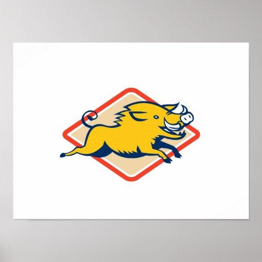 Razorback Wild Pig Jumping Print