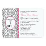 "RDH Graduation Dental Hygienist Hygiene damask 5"" X 7"" Invitation Card"