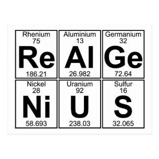 Re-Al-Ge-Ni-U-S (real genius) - Full Post Card