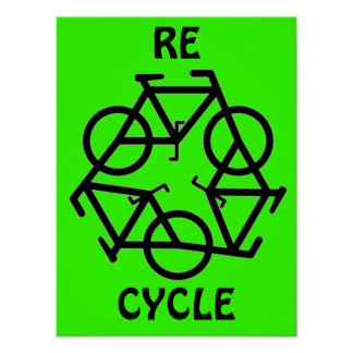 RE CYCLE Recycle Bicycle Symbol Poster