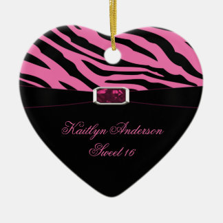 RE-DO Zebra Print and Pink Jewel Sweet 16 Keepsake Ceramic Ornament