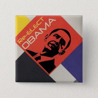 Re-elect Obama: Modern Art design 2 Inch Square Button
