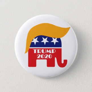 Re-elect President Trump 2020 GOP Elephant Hair 2 Inch Round Button