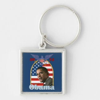 Re-Election Barack Obama for 2012 Silver-Colored Square Keychain