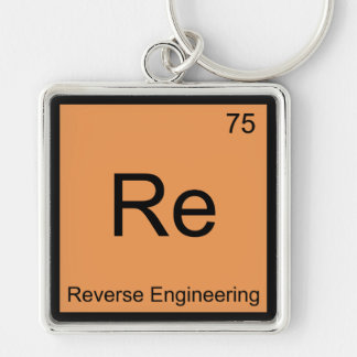 Re - Reverse Engineering Chemistry Element Symbol Silver-Colored Square Keychain