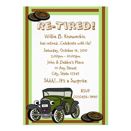 Re-Tired/ Retirement Party Invitation