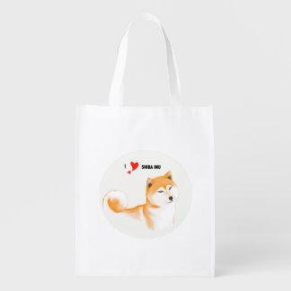 Re-usable stock market Shiba inu Reusable Grocery Bag