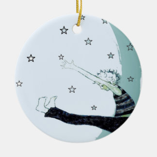 Reach for the Stars and the Moon Inspirational Round Ceramic Ornament