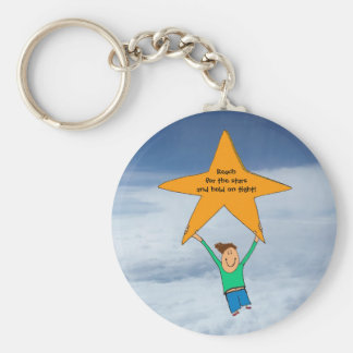 Reach for the stars... basic round button keychain