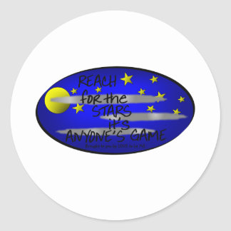 REACH FOR THE STARS IT'S ANYONE'S GAME ROUND STICKER