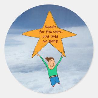 Reach for the stars... round sticker