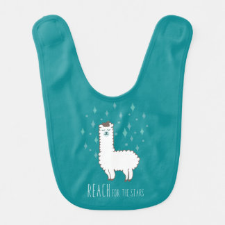 """Reach For The Stars"" Sweet Llama Illustration Bib"