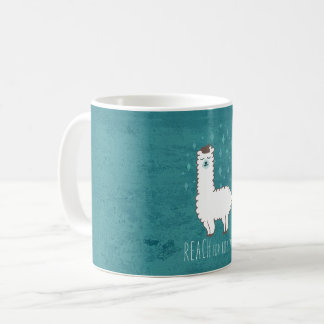 """Reach For The Stars"" Sweet Llama Illustration Coffee Mug"