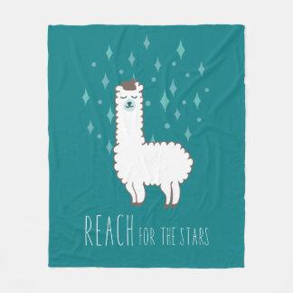 """Reach For The Stars"" Sweet Llama Illustration Fleece Blanket"