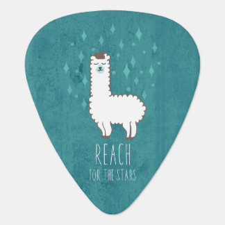 """Reach For The Stars"" Sweet Llama Illustration Guitar Pick"