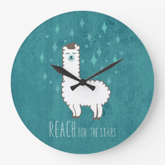 """Reach For The Stars"" Sweet Llama Illustration Large Clock"