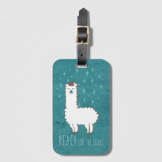 """Reach For The Stars"" Sweet Llama Illustration Luggage Tag"