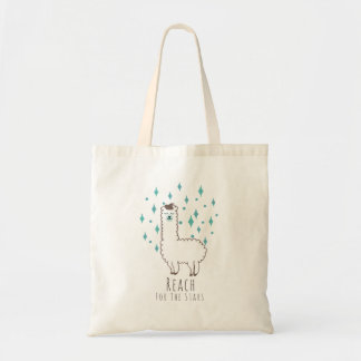 """Reach For The Stars"" Sweet Llama Illustration Tote Bag"
