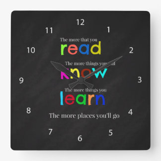 Read and learn square wall clock