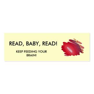Read Baby Read Red Art Spirals Mini Book Marker Business Card